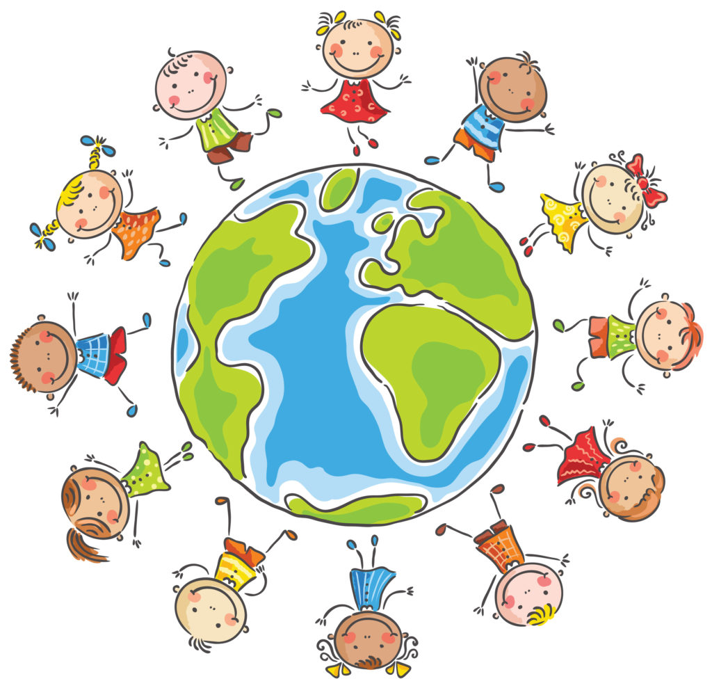 Children on a globe